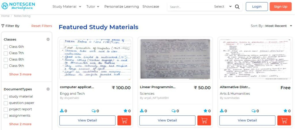 Earn by featuring Notes/study materials in market place