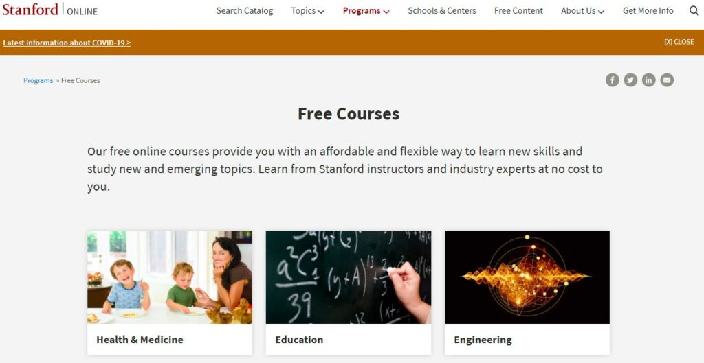 Stanford Online free courses